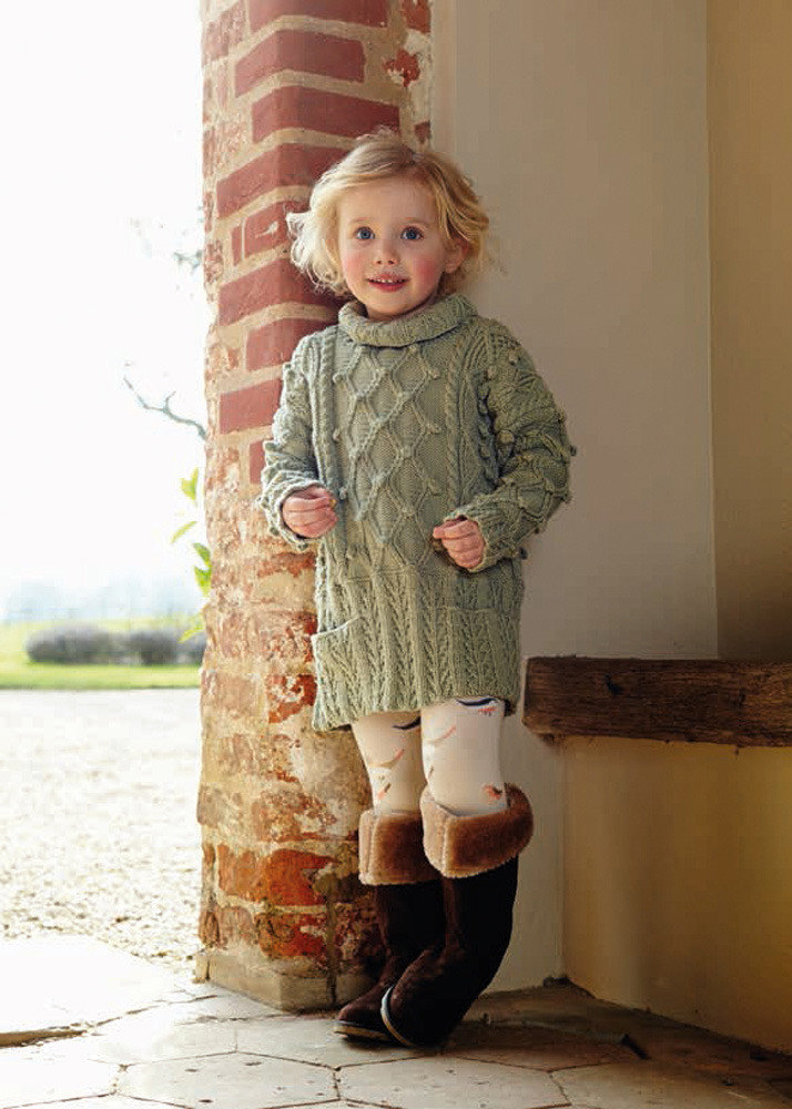 Aran Jumper Dress Knitting Pattern : Aran Tunic Dress in Debbie Bliss Blue Faced Leicester DK - BFLDK04 Knitting...