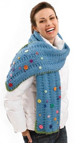 Button Scarf in Lion Brand Wool-Ease Thick & Quick - 50411