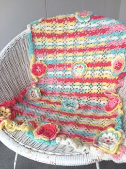 LoopsandLil Baby Blanket with Flowers