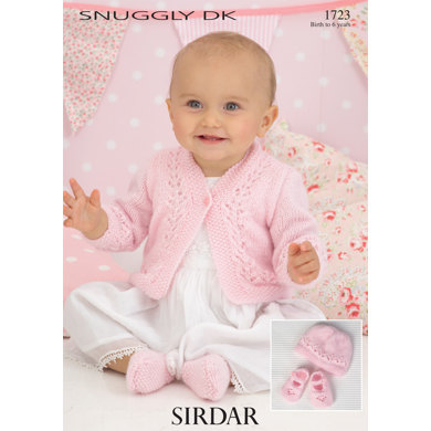 Sirdar Knitting Pattern Abbreviations : Cardigan, Hat and Shoes in Sirdar Snuggly DK - 1723 - Downloadable PDF