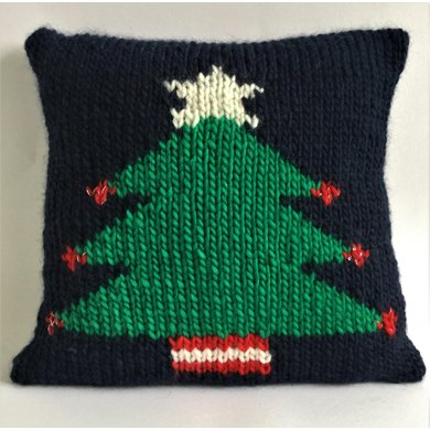 Christmas Tree Cushion Cover Knitting Pattern By The Lonely Sea