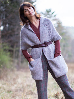 Tamarind Hooded Cape in Berroco Blackstone Tweed