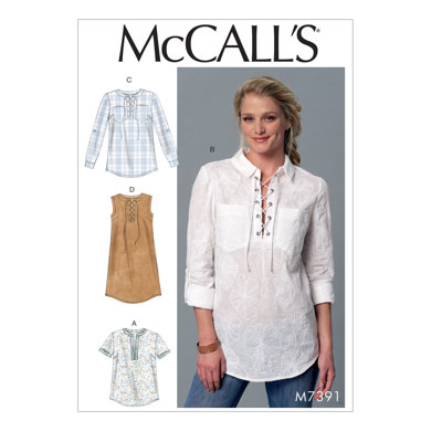 McCall's Misses' Laced or Split-Neck Tops and Dress M7391 - Sewing Pattern