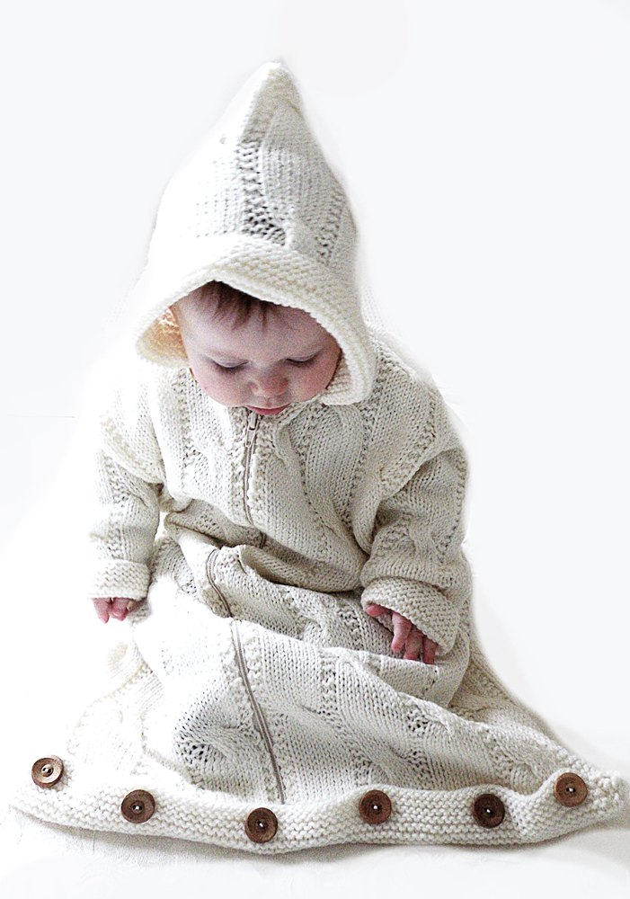 Baby Bunting Bag Knitting Pattern : Baby bunting, snuggly sleeping bag with detachable hood P004 Knitting pattern...