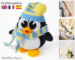 Penguin amigurumi toy. Christmas staircase decoration