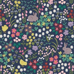 Lewis and Irene Bunny Hop - Bunny & Chick Floral Blue