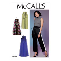 McCall's Misses' Pants with Panel, Tie, and Belt Variations M7661 - Sewing Pattern