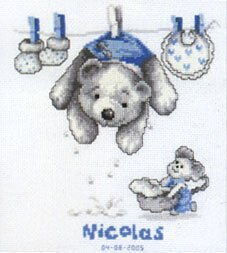 Vervaco Out to Dry Birth Sampler Cross Stitch Kit