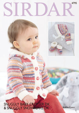 Jacket, Mittens, Bootees and Bonnet in Sirdar Snuggly Baby Crofter DK and Snowflake DK - 4795 - Downloadable PDF