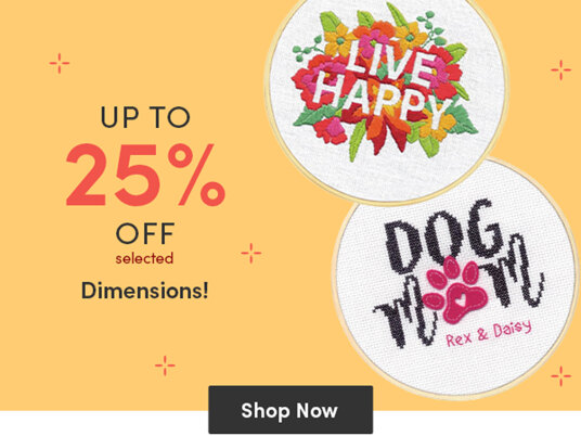 Up to 25 percent off selected Dimensions kits!