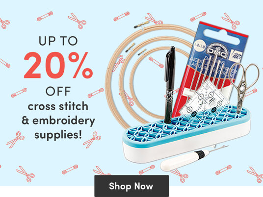 Today only! Up to 20 percent off cross stitch & embroidery supplies!