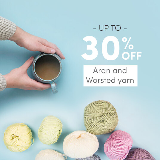 Up to 30 percent off aran & worsted yarn!