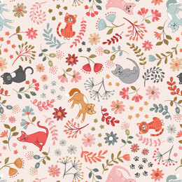 Lewis & Irene Purrfect  - Floral cats on warm cream
