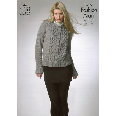 Sweater and Cardigan in King Cole Fashion Aran - 3209