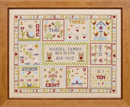 Historical Sampler Company 123 Count With Me Birth Sampler Cross Stitch Kit - 42cm x 36cm