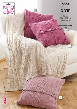Throw and Cushion Cover in King Cole Forest Aran - 5660 - Leaflet