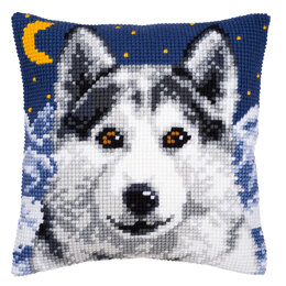 Vervaco Midnight Wolf Cushion Front Chunky Cross Stitch Kit - 40cm x 40cm