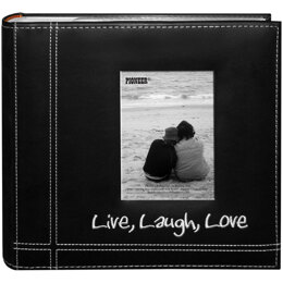 "Pioneer Embroidered Stitched Leatherette Photo Album 9""X9"" - Live, Laugh & Love - Black"