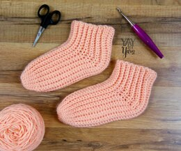 Super Easy Slipper Socks - Ladies Shoe Sizes 4-10
