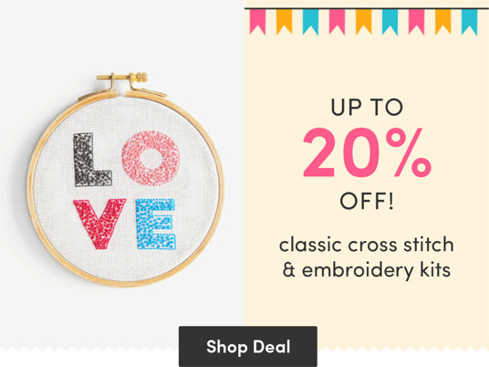 Up to 20 percent off classic cross stitch & embroidery kits!