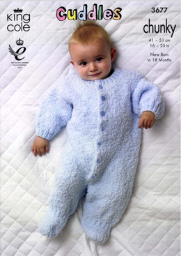 Hooded Snowsuit and Sleepsuit in King Cole Cuddles Multi - 3677