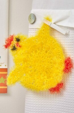 Cute Chickie Scrubby in Red Heart Scrubby Sparkle - LW5541 - Downloadable PDF
