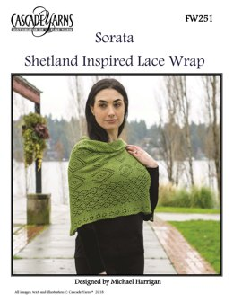 Shetland Inspired Lace Wrap in Cascade Yarns Sorata - FW251 - Downloadable PDF