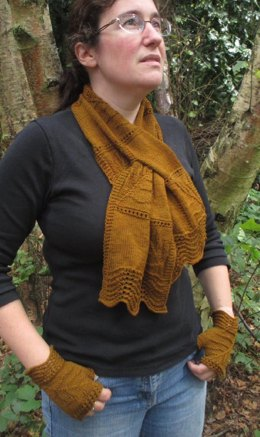 Fossilised Ferns Scarf and mitts