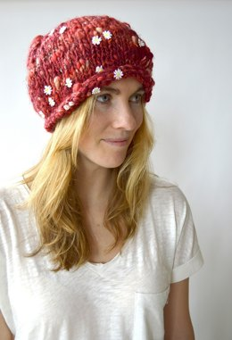 Relaxed Rolled Edge Beanie in Knit Collage Daisy Chain