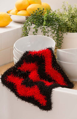 Chevron Dish Scrub in Red Heart Scrubby Solids - LW4792 - Downloadable PDF