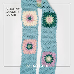 Granny Square Scarf in Paintbox Yarns 100% Wool Worsted - Downloadable PDF