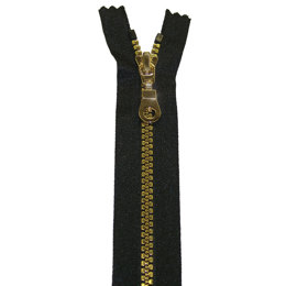 "Neckline And Pocket Zip With Gold Vislon Molded Teeth 15cm/6"" - Black (580)"