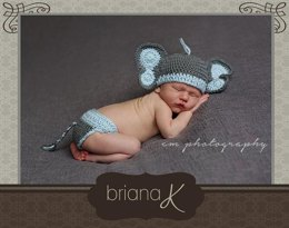 Newborn Elephant Hat and Diaper Cover Pattern for Boy or Girl