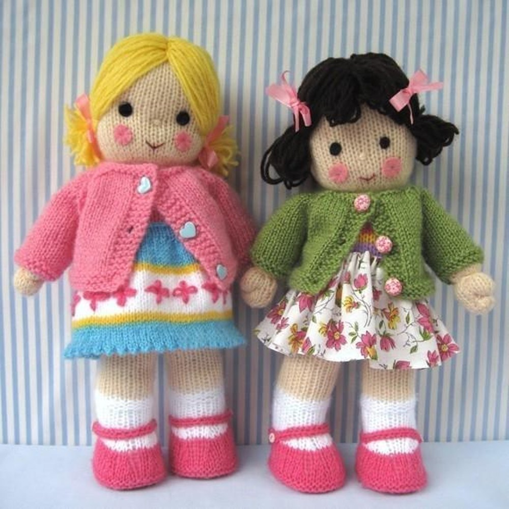 Red Heart Free Knitting Patterns For Dolls : Polly and Kate - Knitted Dolls Knitting pattern by ...