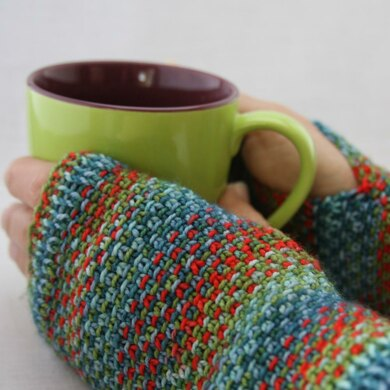 Painted Landscape Fingerless Mitts