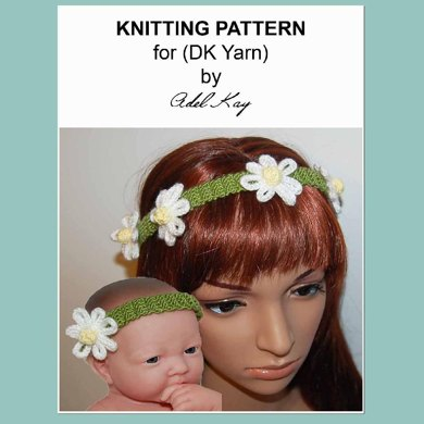 Amelia Daisy Chain Flower Headband DK Yarn Knitting Pattern by Adel Kay