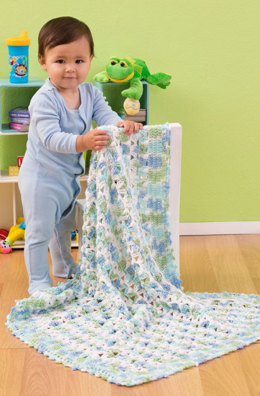Favorite Cozy Blanket in Red Heart Baby TLC Multis and Solids - LW3132 - Downloadable PDF