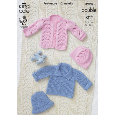 Baby Hat,Jacket and Blanket in King Cole Cottonsoft DK - 3928
