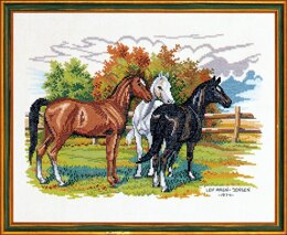 Eva Rosenstand Three Horses Cross Stitch Kit - 49cm x 36cm