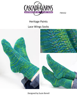 Lace Wing Socks in Cascade Heritage Paints - FW152
