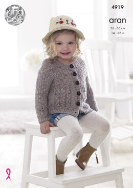 Cardigan and Slipover in King Cole Big Value Aran - 4919