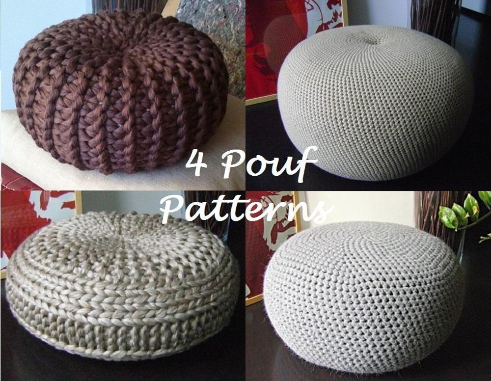 4 knitted crochet pouf floor cushion patterns knitting for Floor knitting