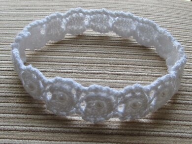 White Cotton Lacy Headband with Pearl Beads