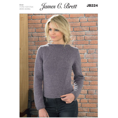 Ladies' Sweater in James C. Brett Aztec Aran - JB224