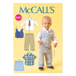McCall's Infants' Vest, Shirt, Shorts, Pants, Tie and Pocket Square M6873 - Sewing Pattern