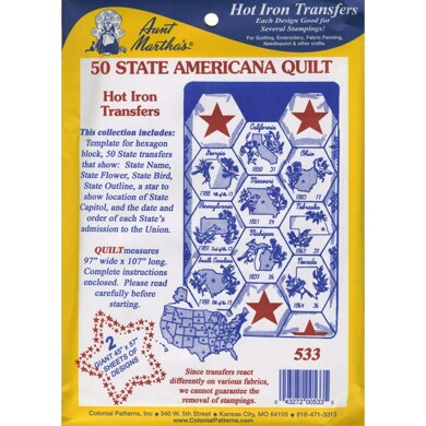 Aunt Martha's Hot Iron Transfers - 50 State Americana Quilt - TPC533 - Leaflet