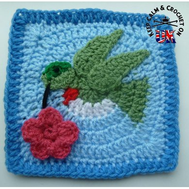 Humming Bird /Dove Afghan Square
