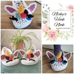 Unicorn Slippers with Flip-flop or crochet sole