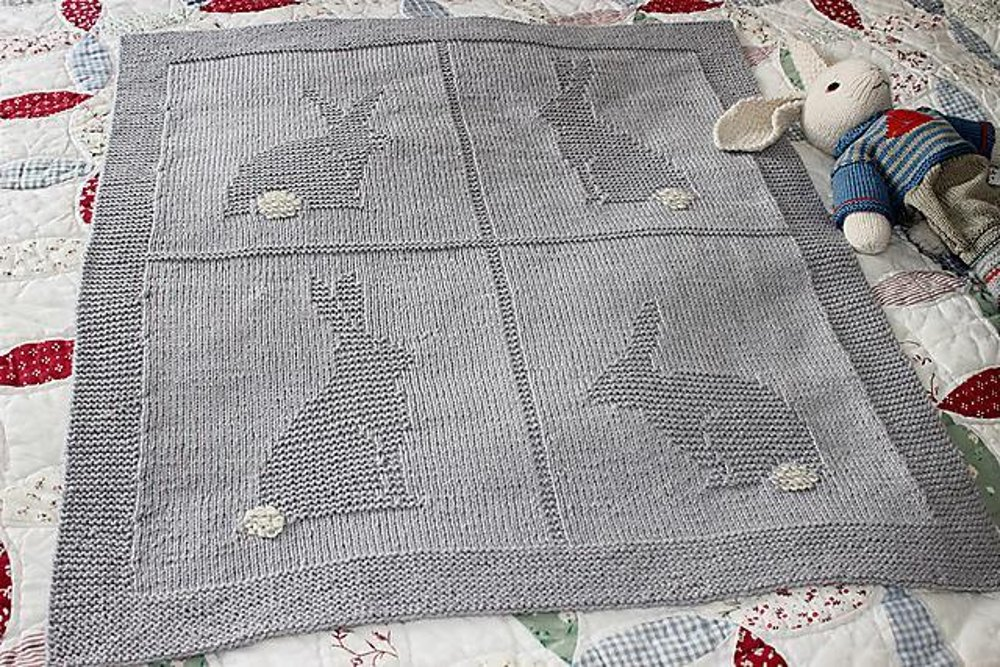 91a0f2de1b36 Four Bunnies Blanket Knitting pattern by Suzanne Strachan