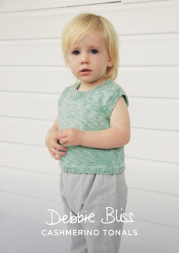 """Daisy Tank"" - Top Knitting Pattern For Beginners in Debbie Bliss Baby Cashmerino Tonals - DBS078"